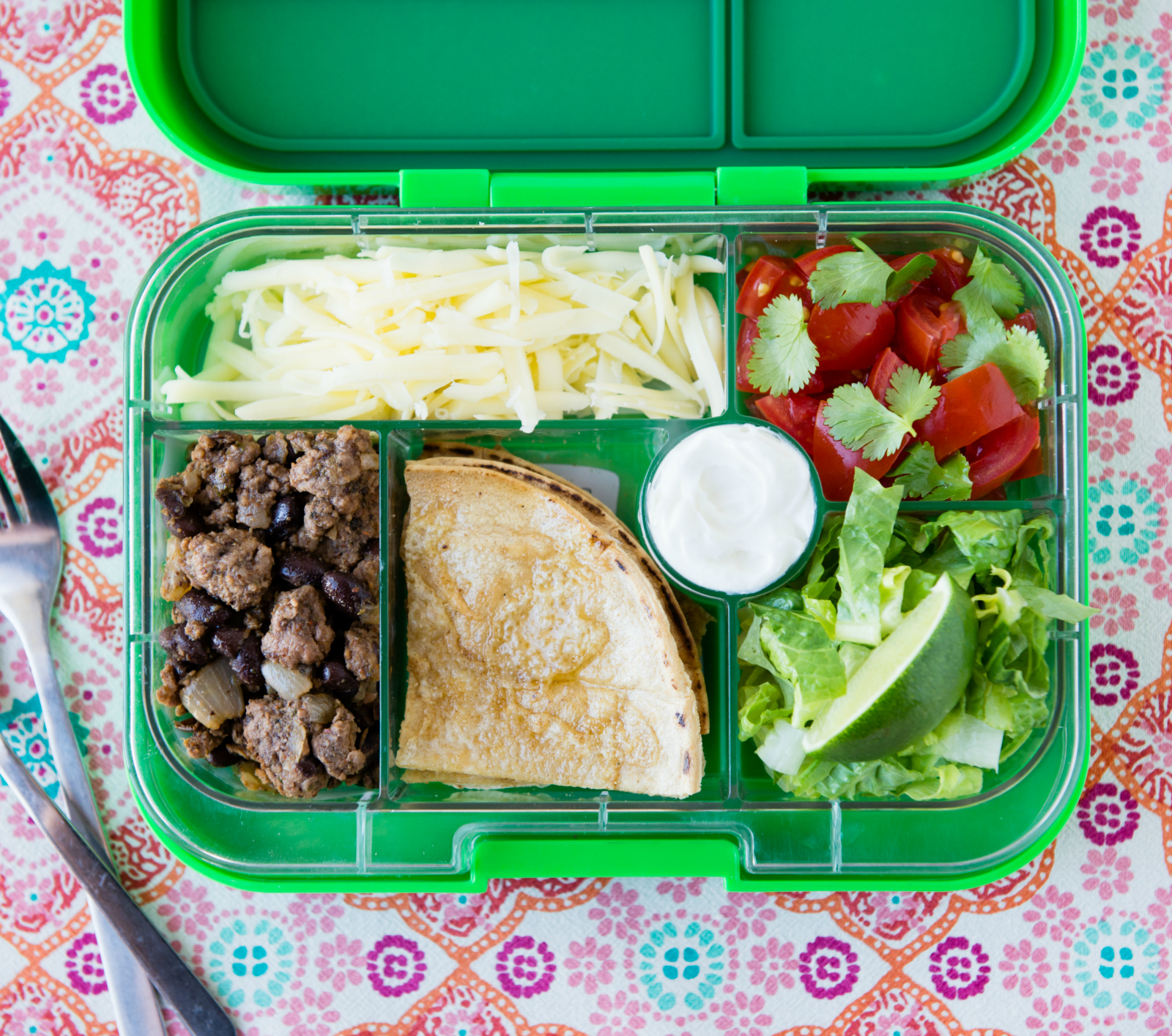 Leftover taco salad in lunchbox
