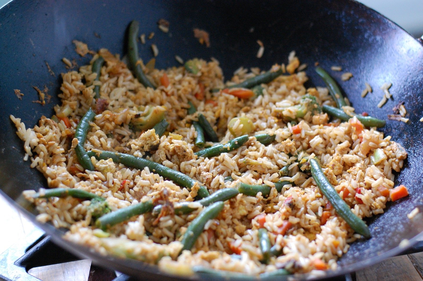 Leftover fried rice stir fry