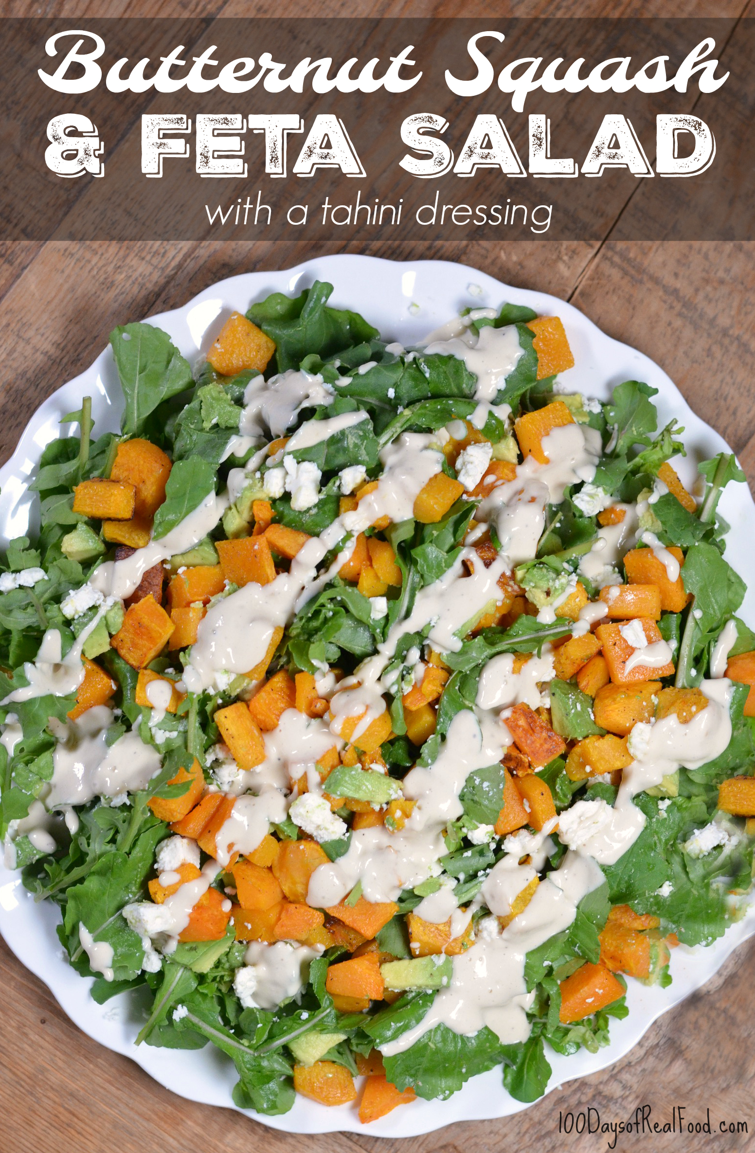 Butternut Squash Salad with feta cheese and a tahini dressing