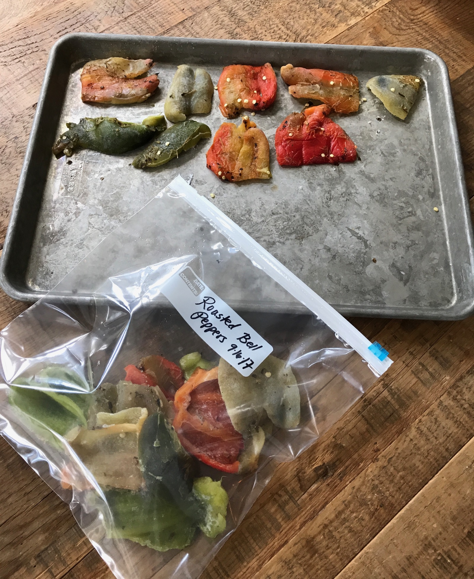 Sheetpan Roasted Bell Peppers ready for freezing