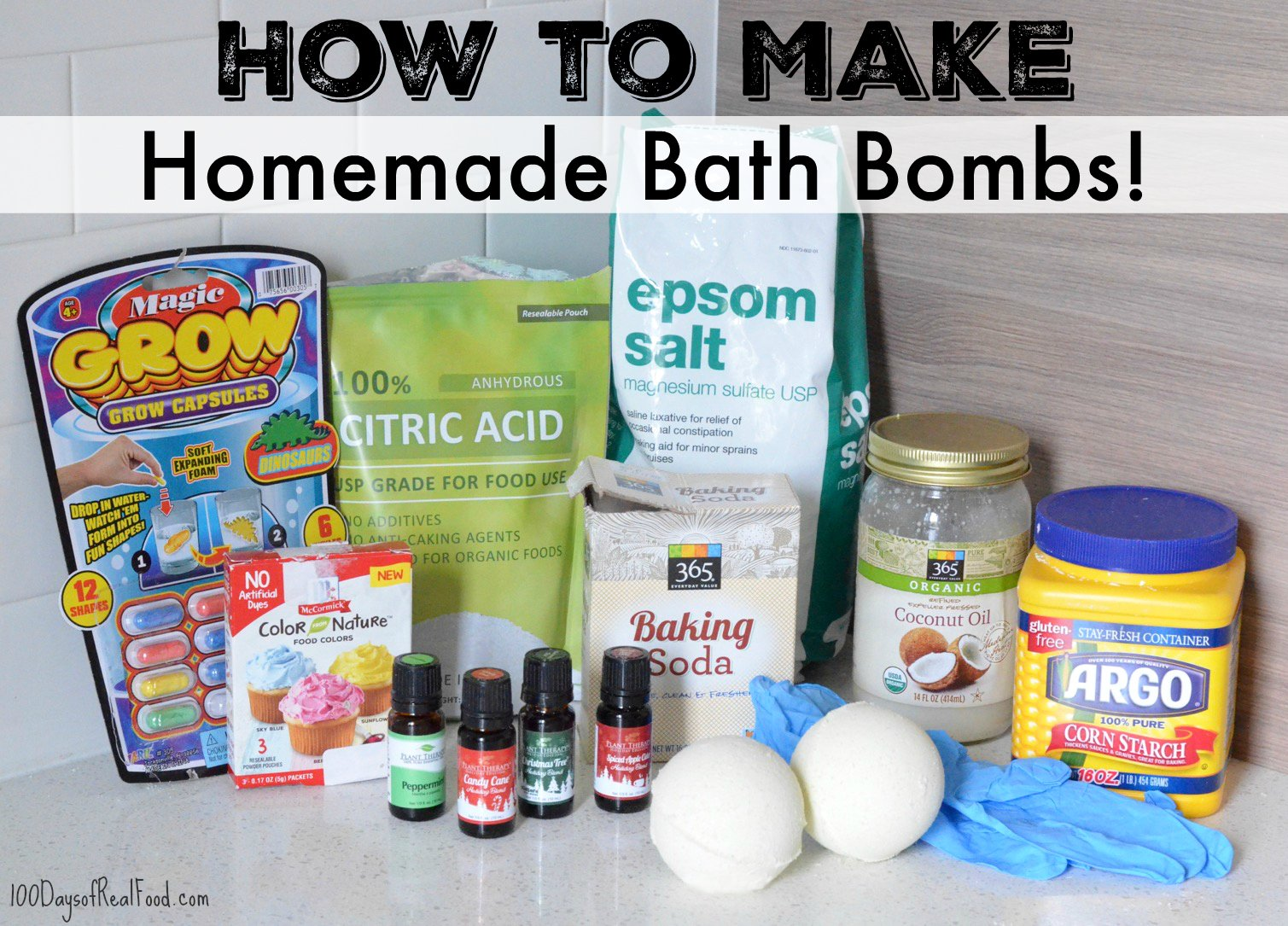 Ingredients for homemade bath bombs