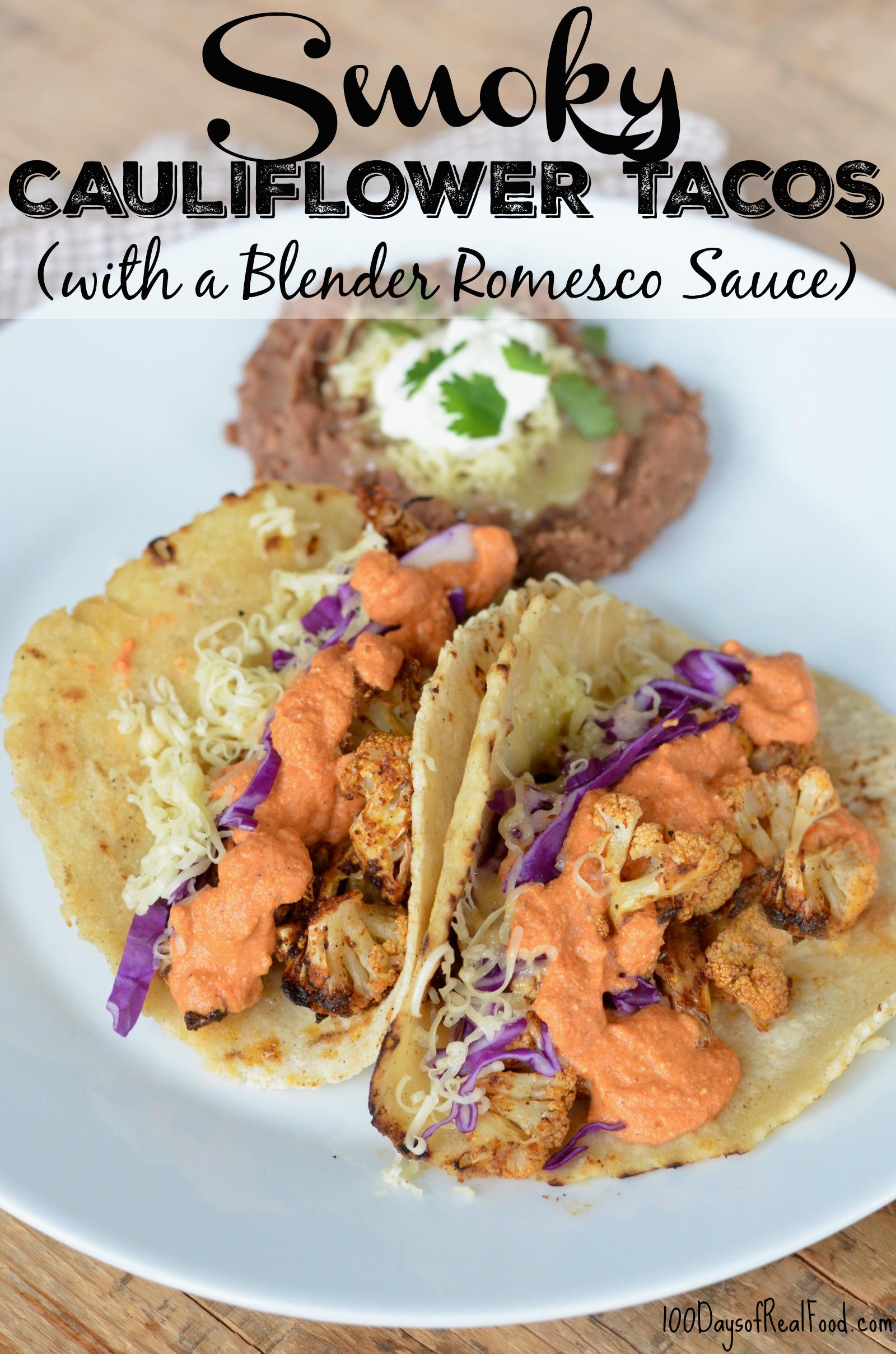 Smoky Cauliflower Tacos (with Blender Romesco Sauce) 3