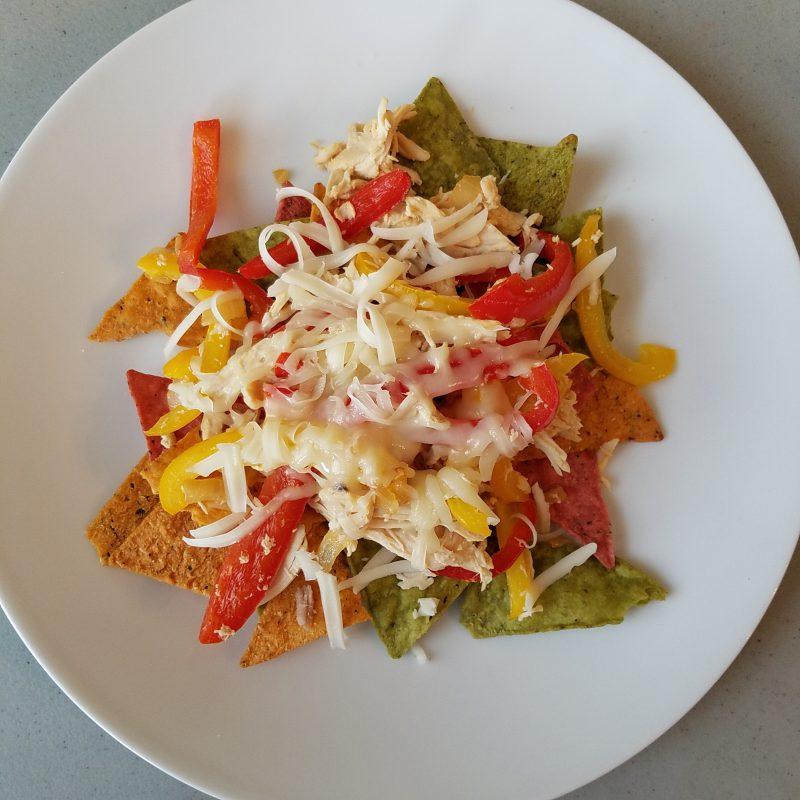 Chicken fajita nachos (veggie tortilla chips)