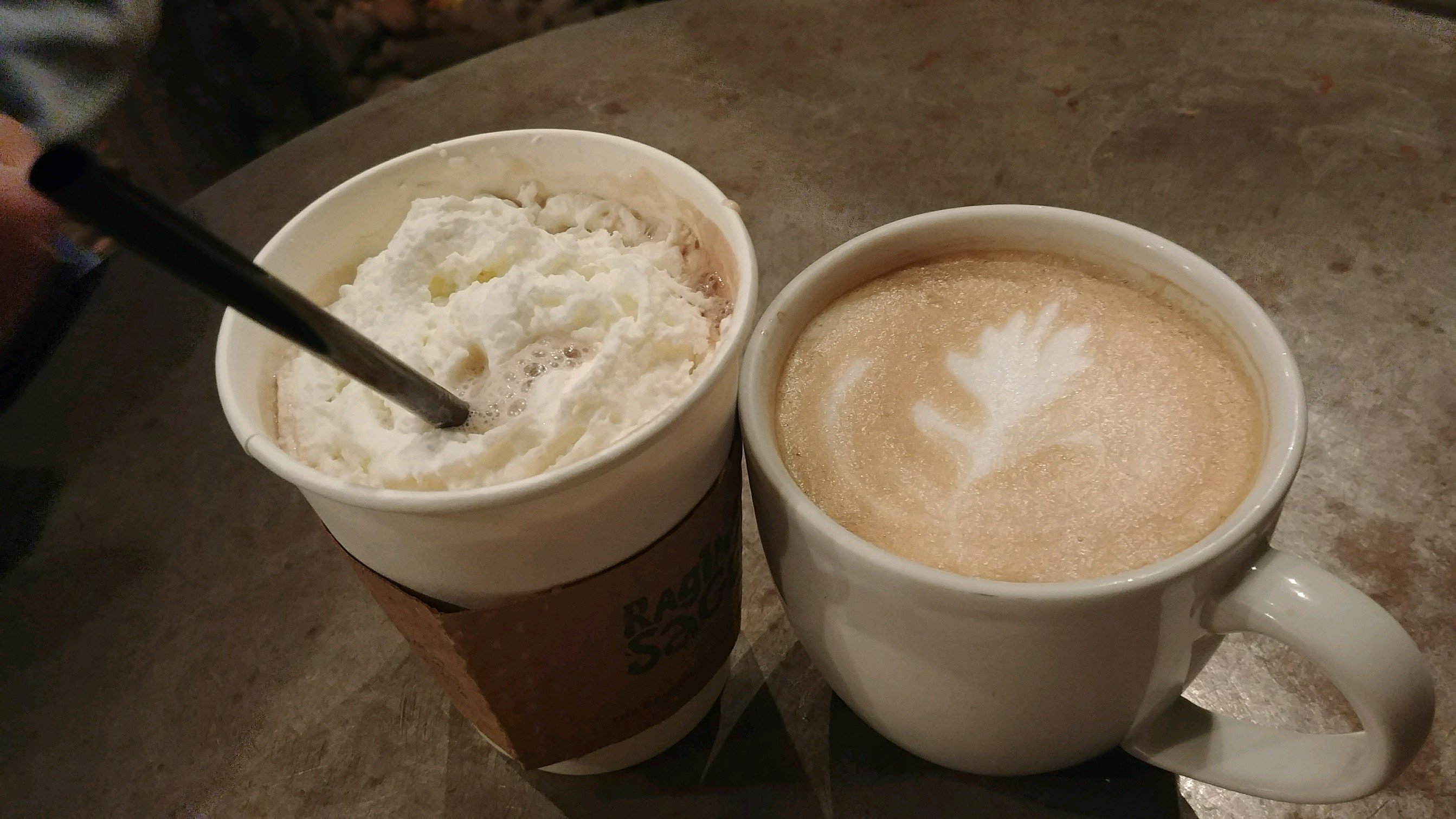 Ginger green tea with lemon and a coconut latte