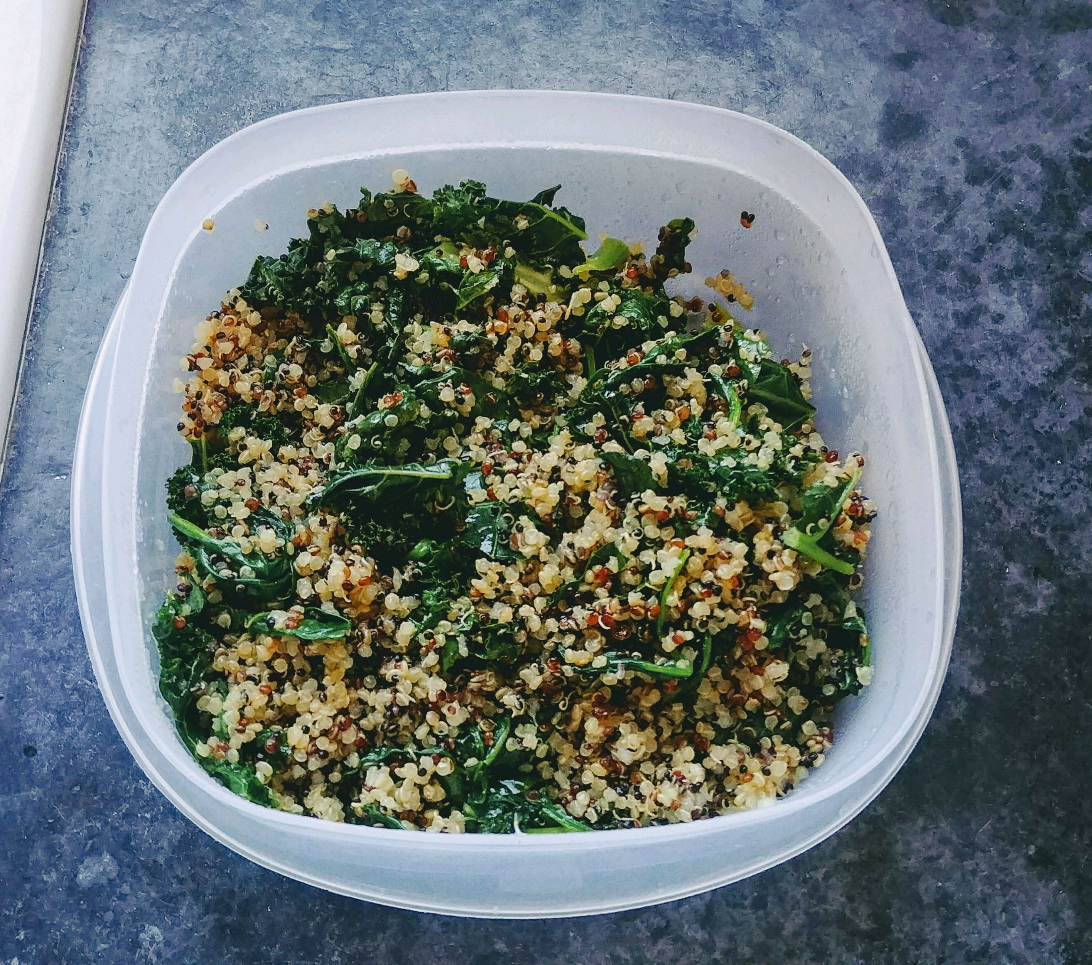 Coconut quinoa with kale and roasted red potatoes and broccoli