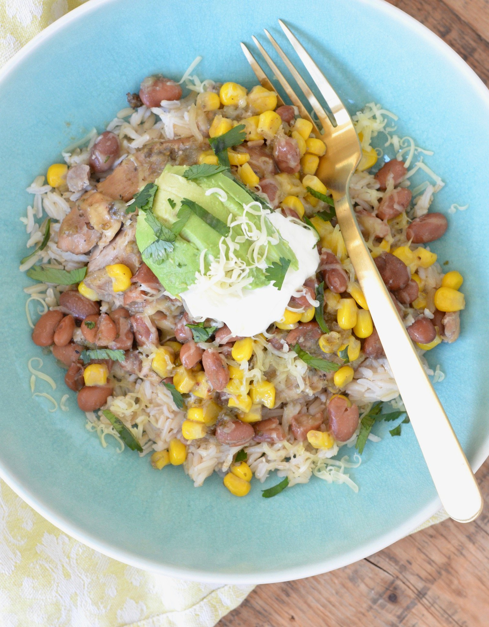 Top View: Slow Cooker Green Salsa Chicken on 100 Days of Real Food