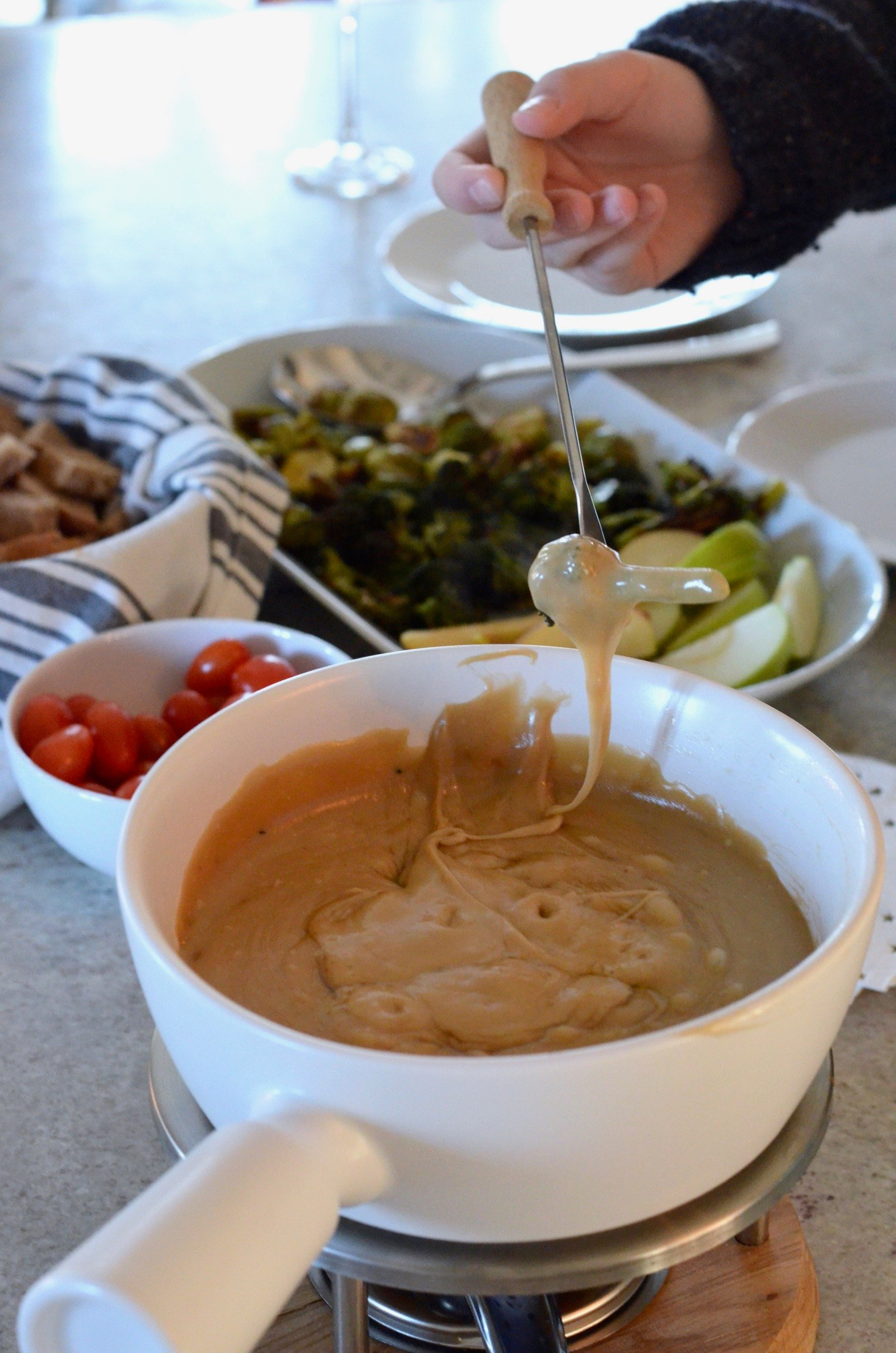 Dipping Roasted Vegetables in an Easy Fondue Recipe