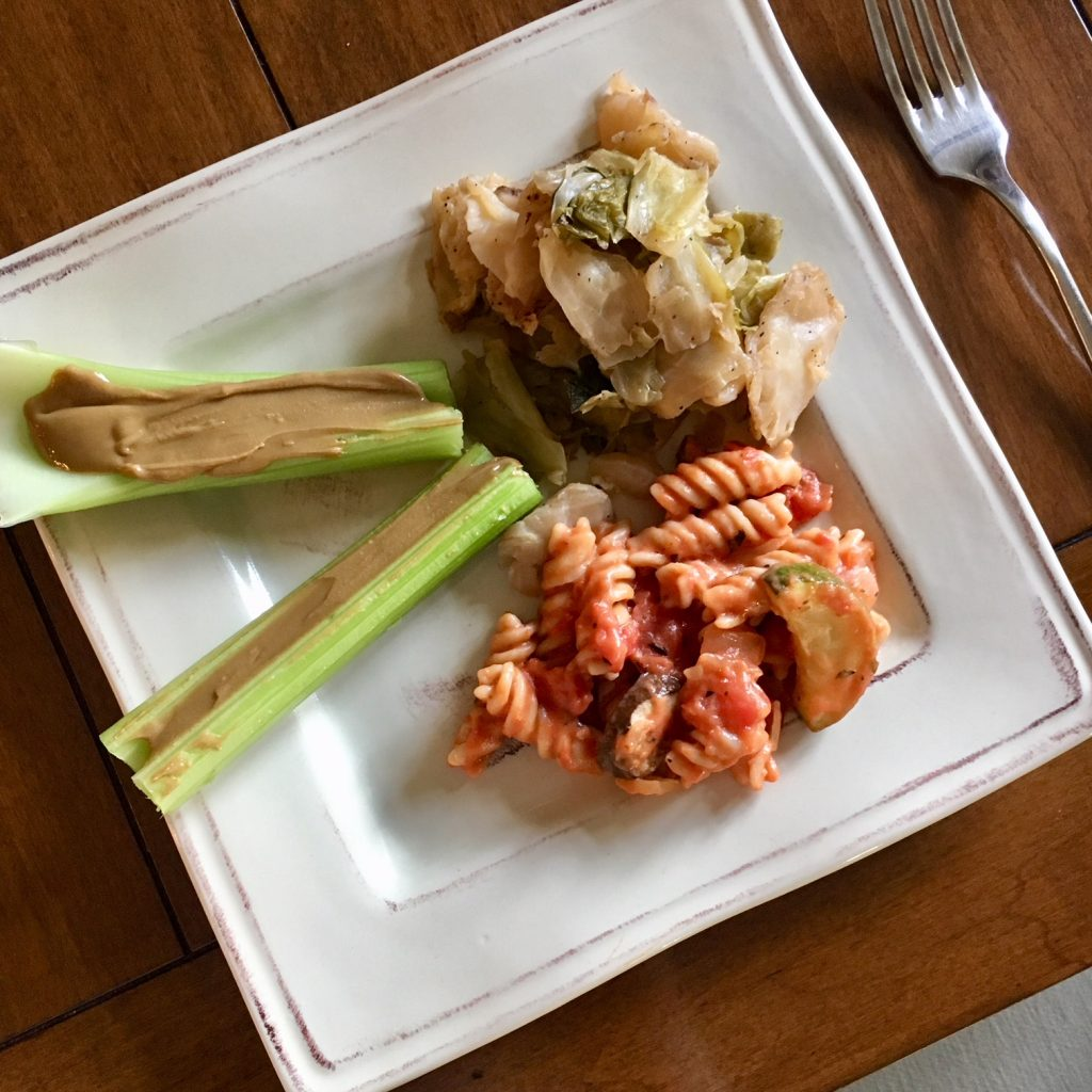 Food Diary: Sautéed cabbage, One Pot Italian Pasta and celery with sunbutter