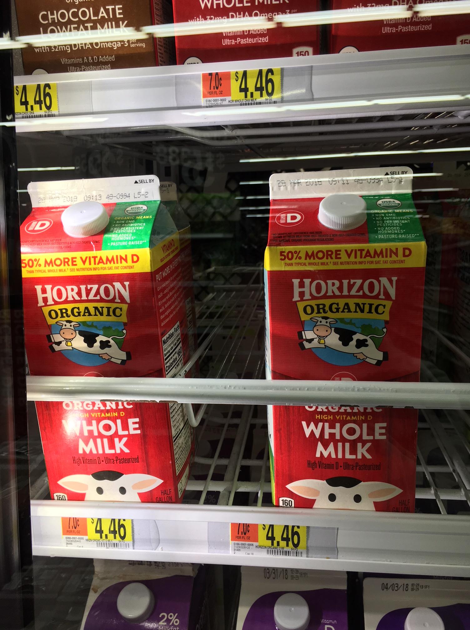 organic milk at walmart