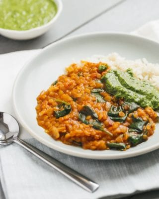 Red Lentil Coconut Curry with Cilantro Chutney 1