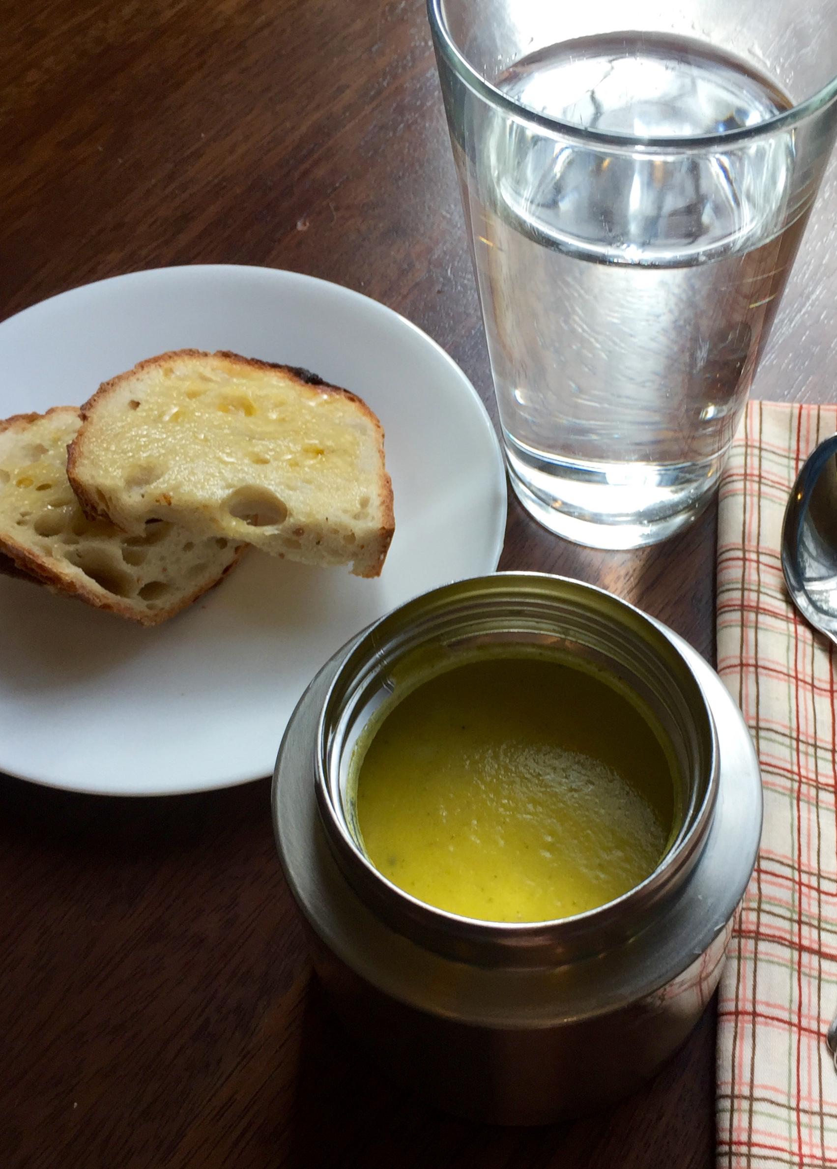 Broccoli cheese soup sourdough