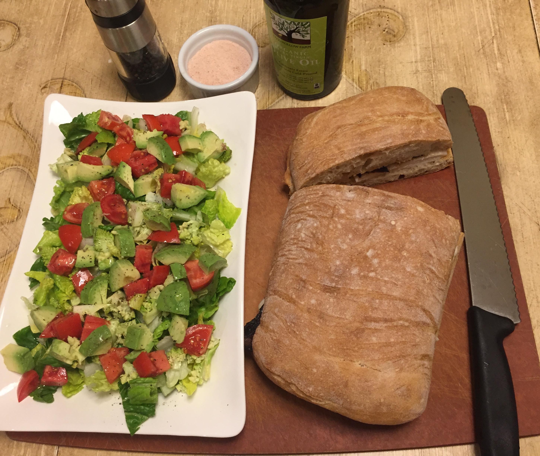 Chicken and bacon on ciabatta with dijon and homemade mayo. Green salad (romaine, romanesco, tomato, avocado, lemon, olive oil)