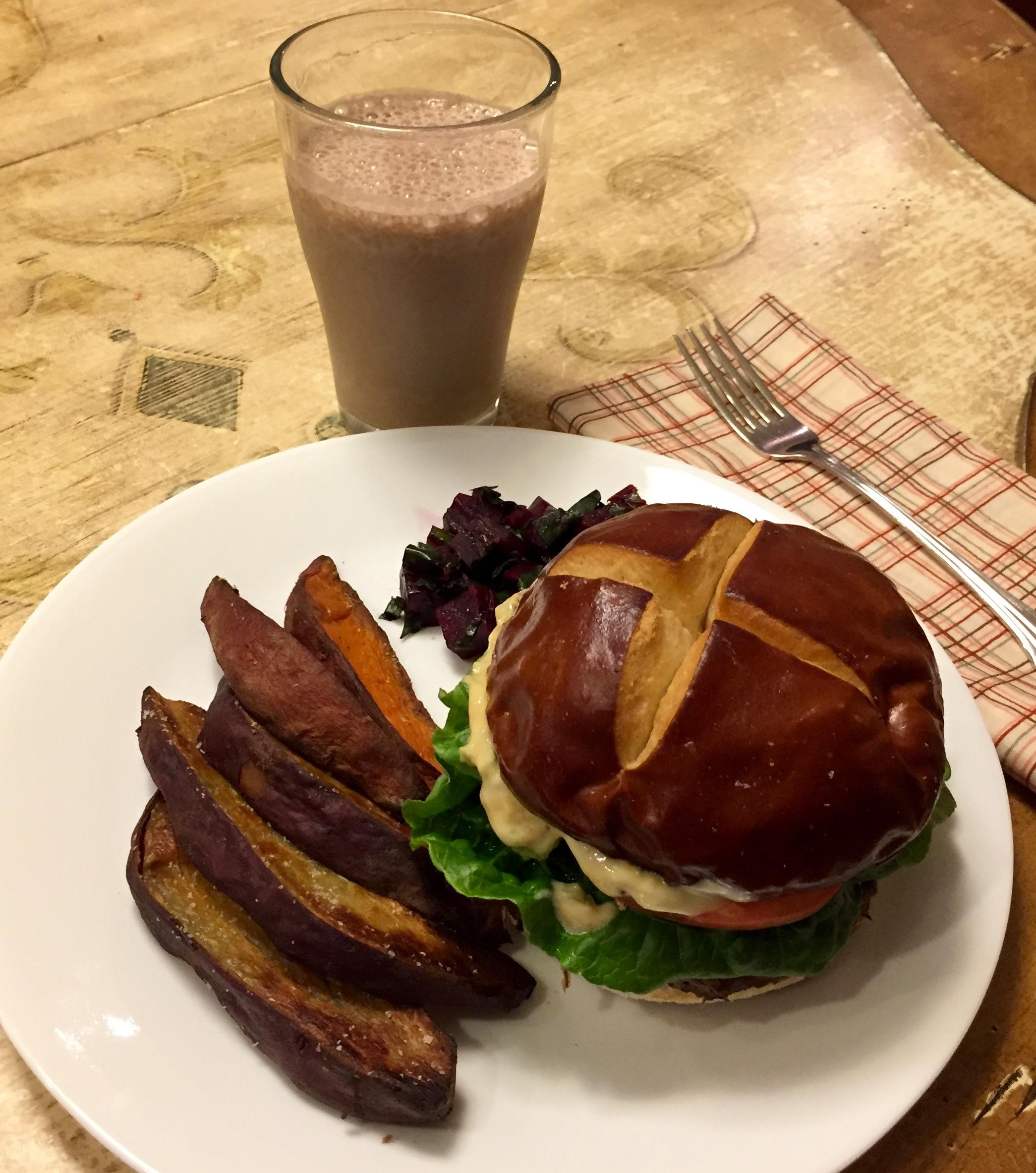 food diary hamburger pretzel bun