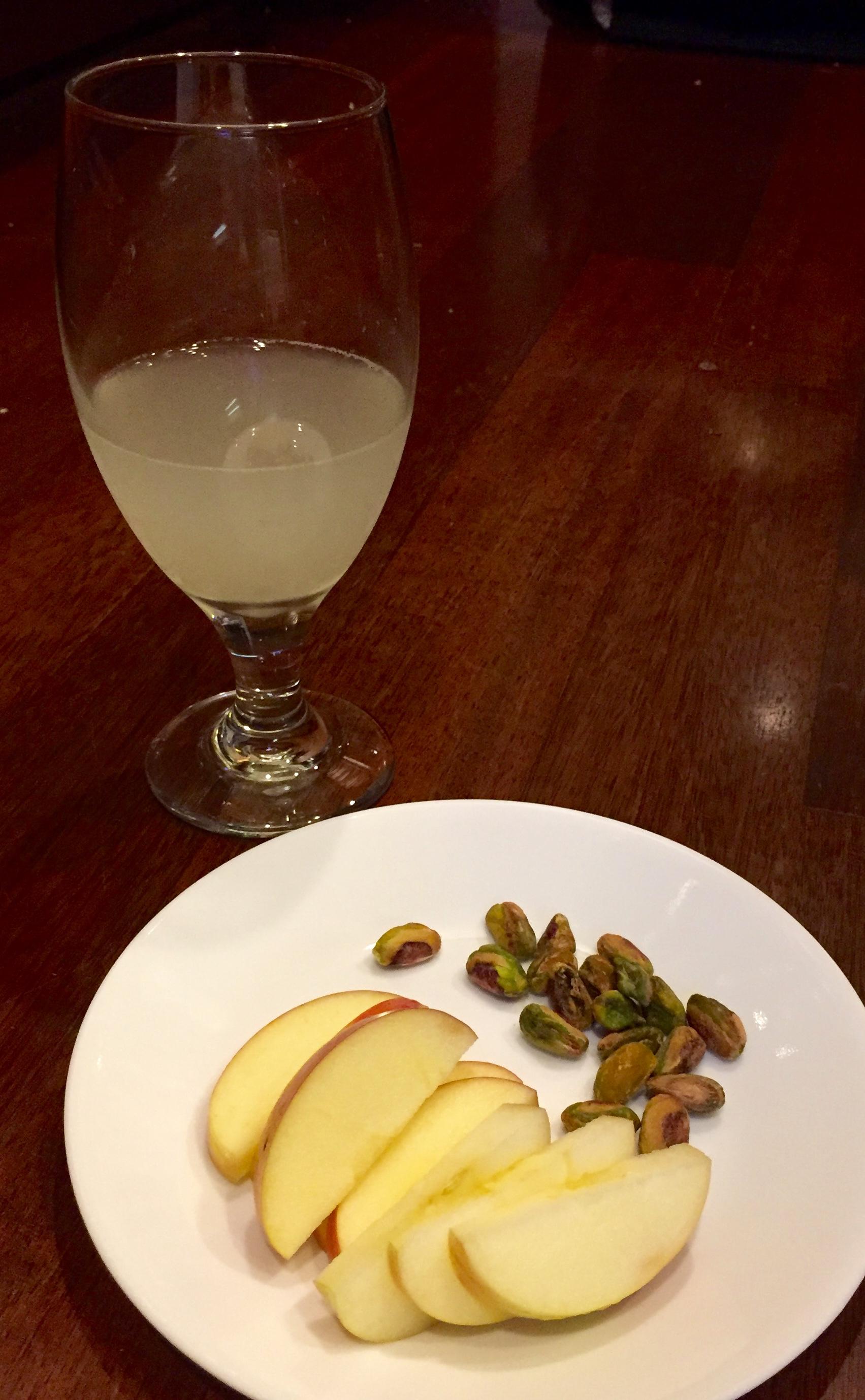 water kefir fermented with lemon/lime juices pistachios apple slices