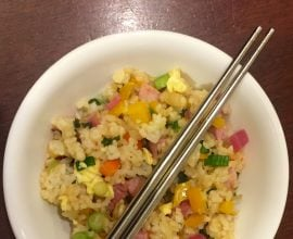 fried rice (ham, egg, brown rice, white rice, soy sauce, garlic, ginger, chiles, onions, orange and yellow peppers, carrots, radish, radish greens, scallions)