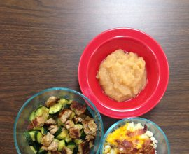 Leftover zucchini and sausage, leftover twice-baked potato, homemade applesauce