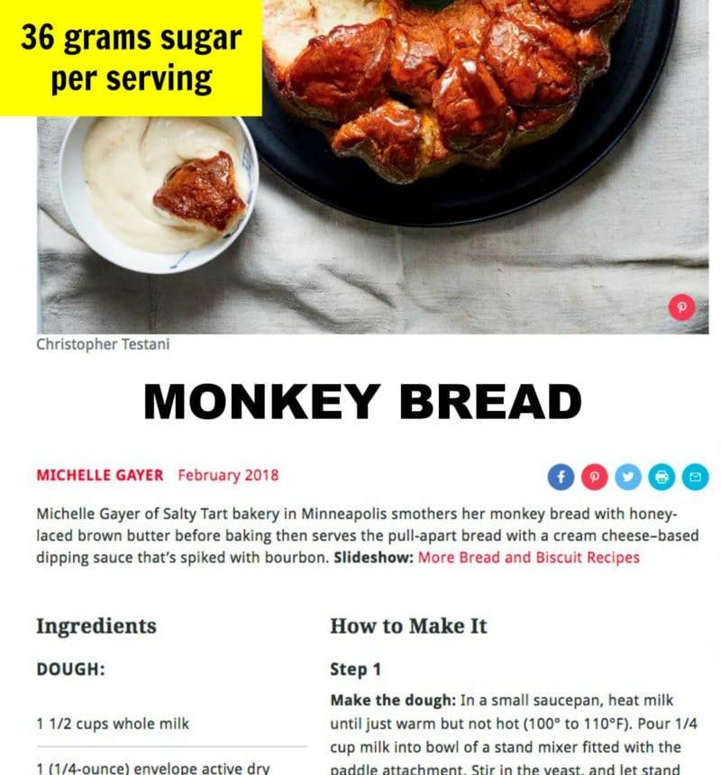 Sugar in typical monkey bread recipe