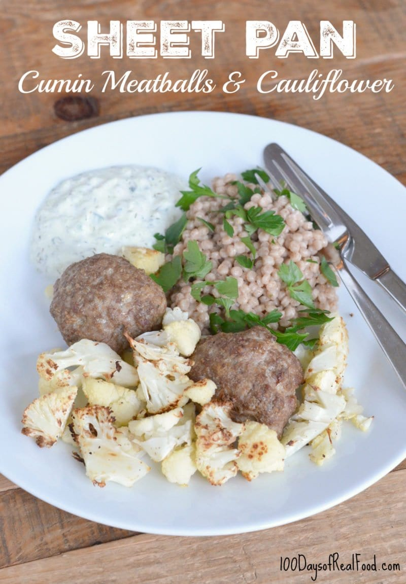 Sheet Pan Cumin Meatballs and Cauliflower