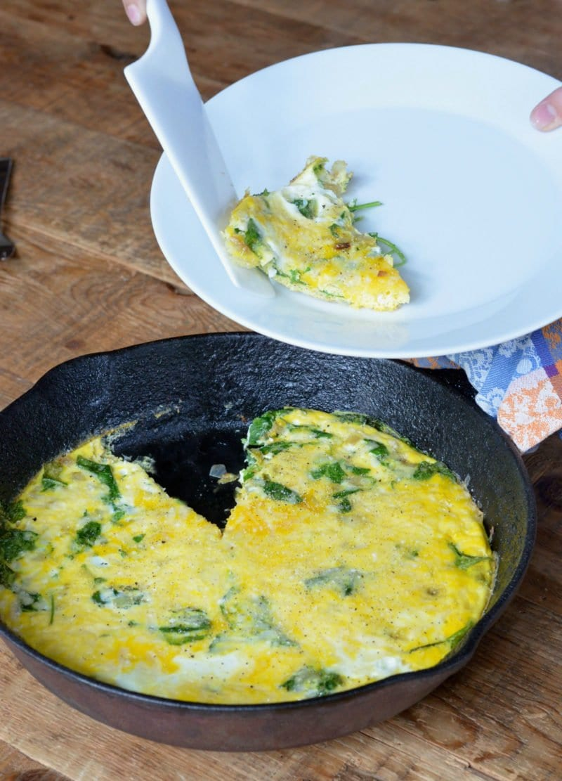 Simple 20 Minute Kale Egg Frittata on 100 Days of Real Food