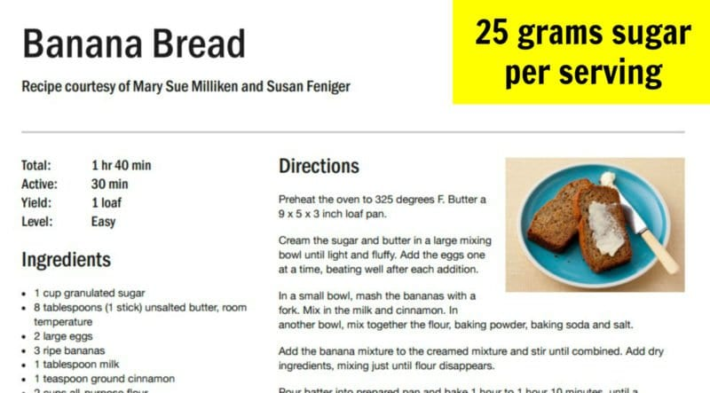 Sugar in typical banana bread recipe
