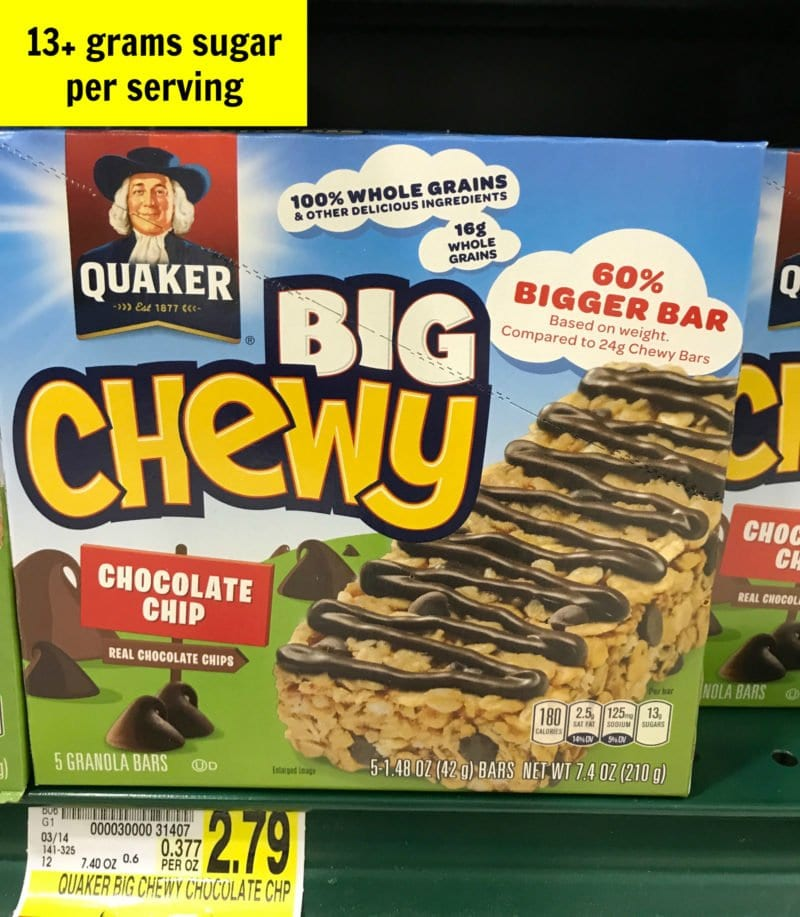 Sugar in chewy snack bars