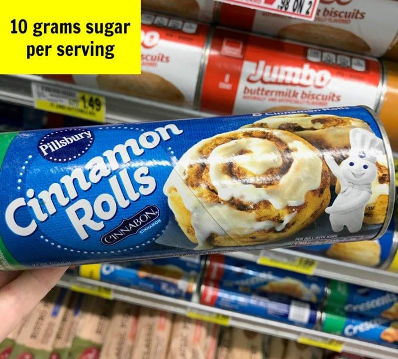 How much sugar is in cinnamon rolls