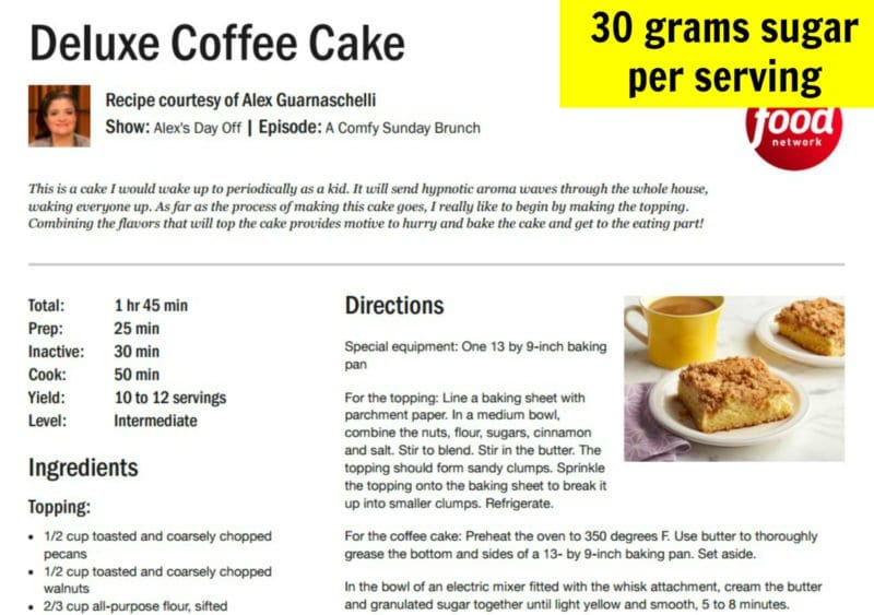 Sugar in typical coffee cake recipe