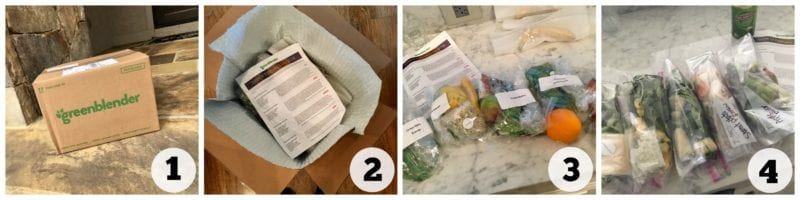 Unpacking a Green Blender box of ingredients