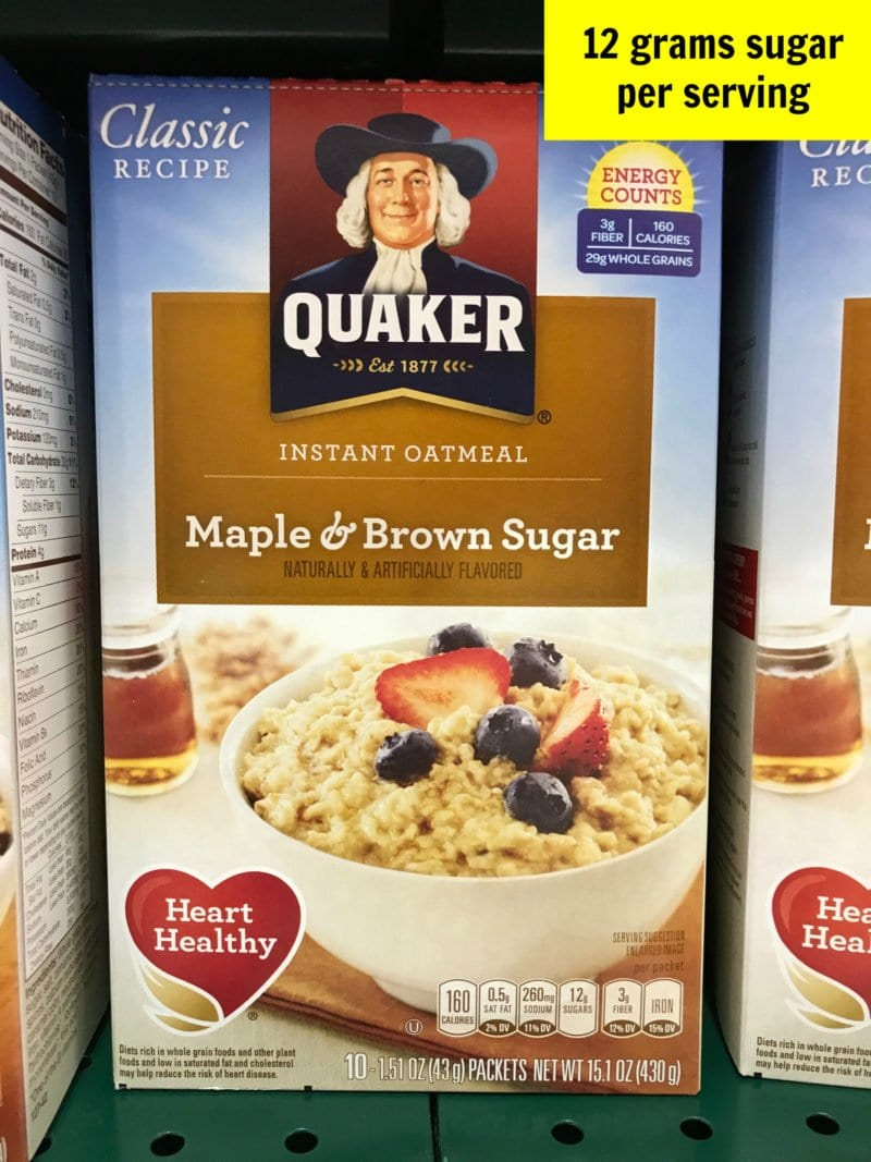 Sugar in oatmeal packets
