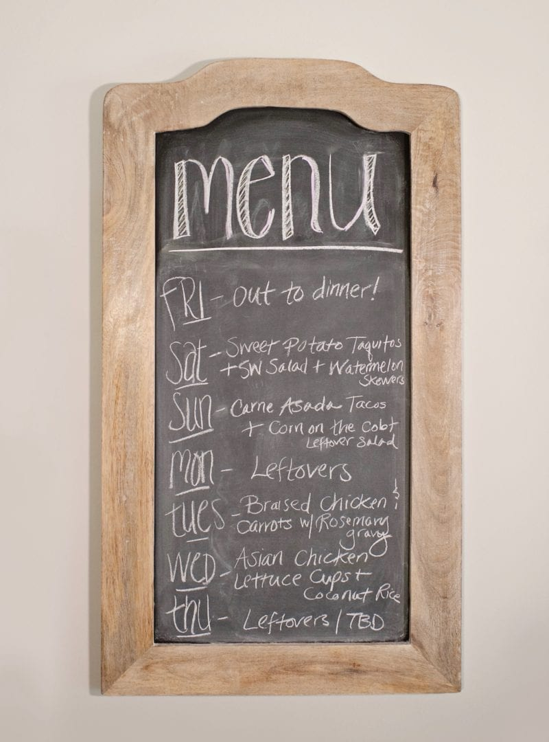 weekly real food menu on chalkboard