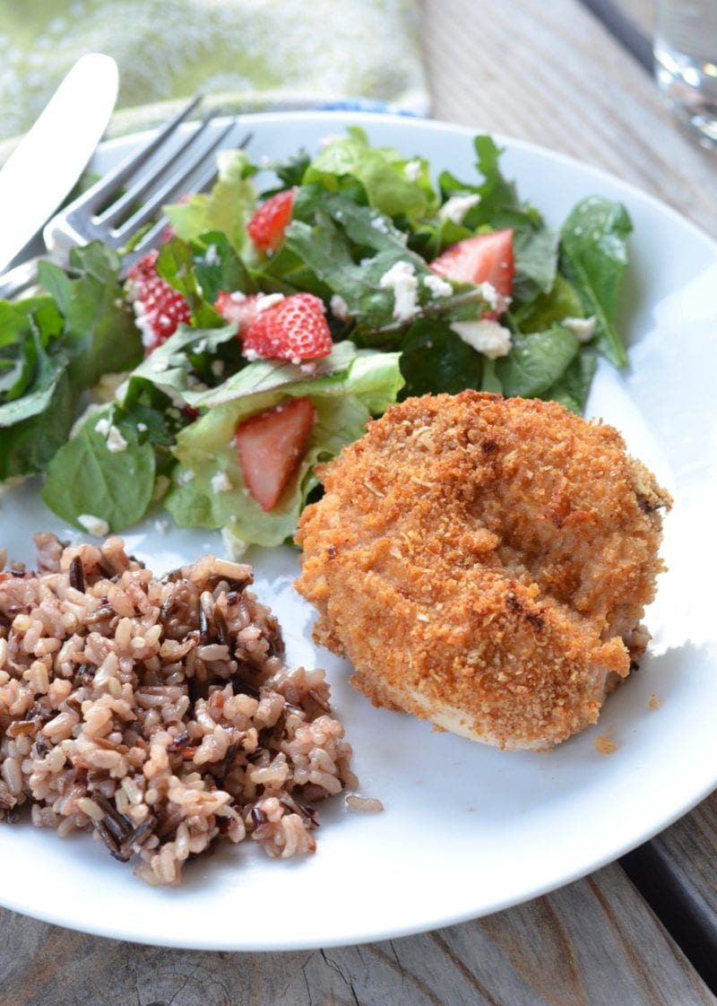 Crispy Oven Fried Chicken served with rice and salad
