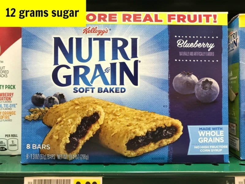 How much sugar is in Kellogg's Nutri Grain bluberry bar on 100 Days of Real Food