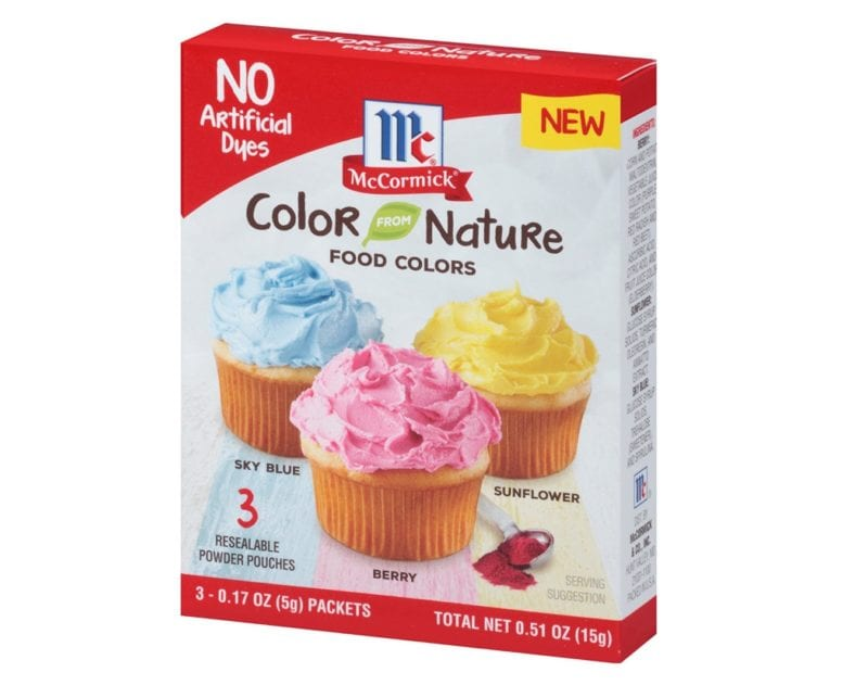photo of McCormick natural food dyes for unicorn cake