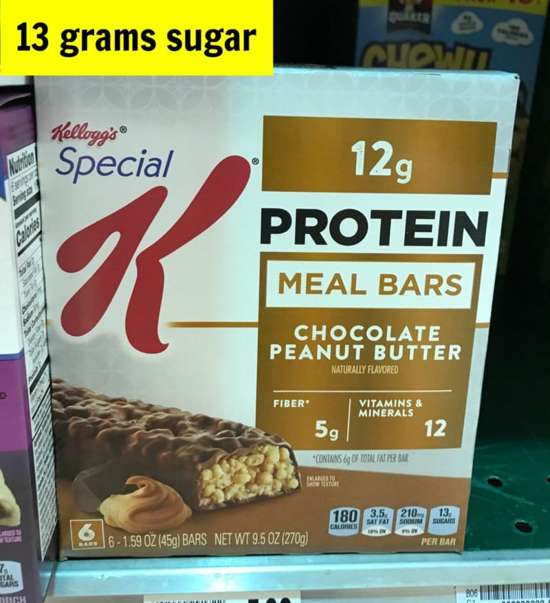 How much sugar is in Special K chocolate peanut butter bar on 100 Days of Real Food