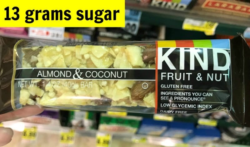 How much sugar is in Kind almond and coconut bar on 100 Days of Real Food