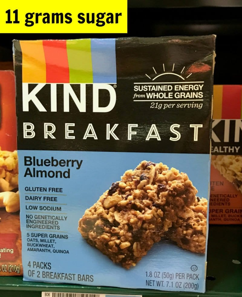 How much sugar is in Kind blueberry almond breakfast bars on 100 Days of Real Food