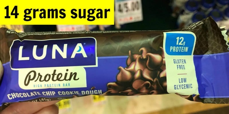 How much sugar is in Luna chocolate chip cookie dough protein bar on 100 Days of Real Food