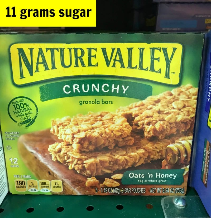 How much sugar is in Nature Valley oats and honey granola bar on 100 Days of Real Food