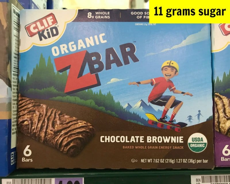 How much sugar is in Clif Kid Organic chocolate brownie bar on 100 Days of Real Food