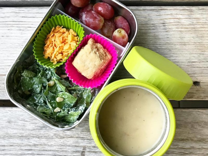 Potato Soup, Spinach Caesar salad, Whole Wheat Biscuit, Grapes - School Lunch Roundup 12 on 100 Days of Real Food