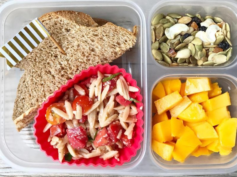 Hummus and cheese sandwich, Orzo pasta salad, Diced mango, Trail mix - School Lunch Roundup 12 on 100 Days of Real Food