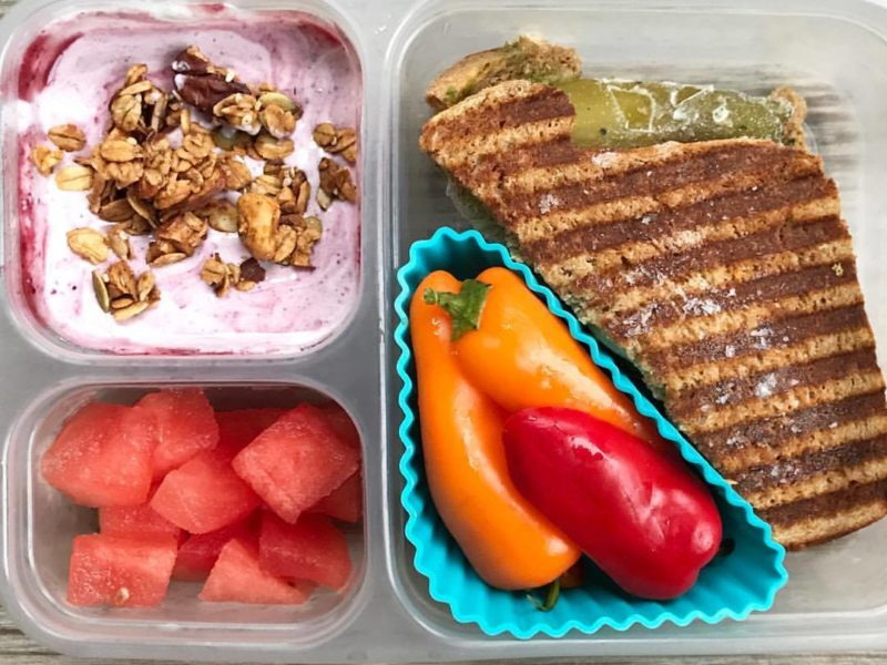 Defrosted sandwich, Mini bell peppers, Plain yogurt with berry sauce and granola, Watermelon - School Lunch Roundup 12 on 100 Days of Real Food