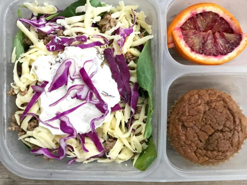 Taco salad, Whole grain pumpkin muffin, Blood oranges - School Lunch Roundup 12 on 100 Days of Real Food