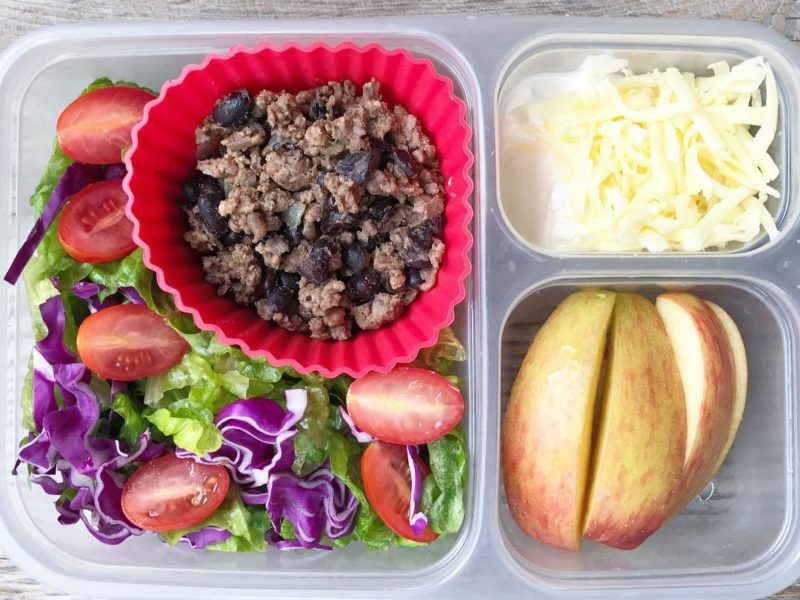 Taco salad, Sliced apples - School Lunch Roundup 12 on 100 Days of Real Food