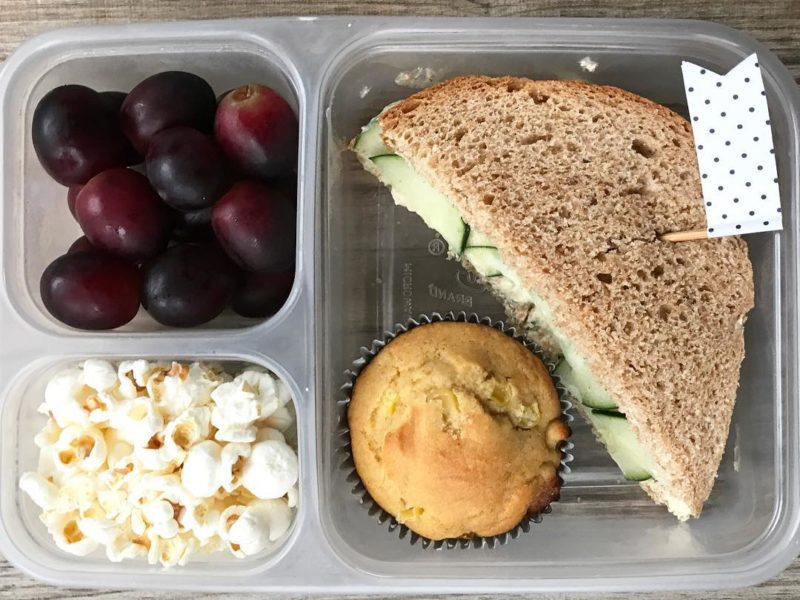 Veggie cream cheese and cucumber sandwich, Corn muffin, Popcorn, Grapes - School Lunch Roundup 12 on 100 Days of Real Food
