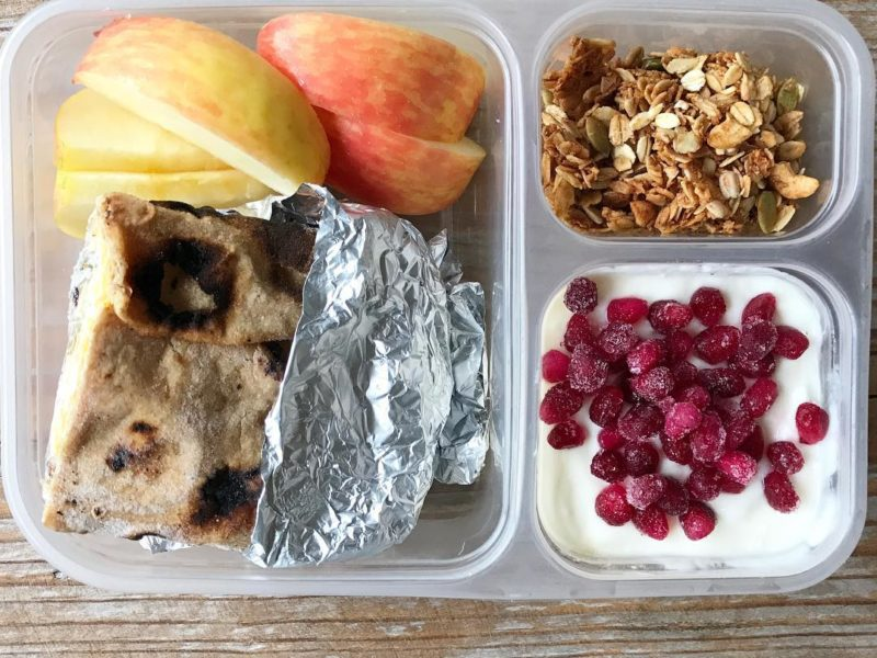 Homemade breakfast burrito, Apples, Yogurt with maple syrup and frozen pomegranate seeds, Homemade granola - School Lunch Roundup 12 on 100 Days of Real Food