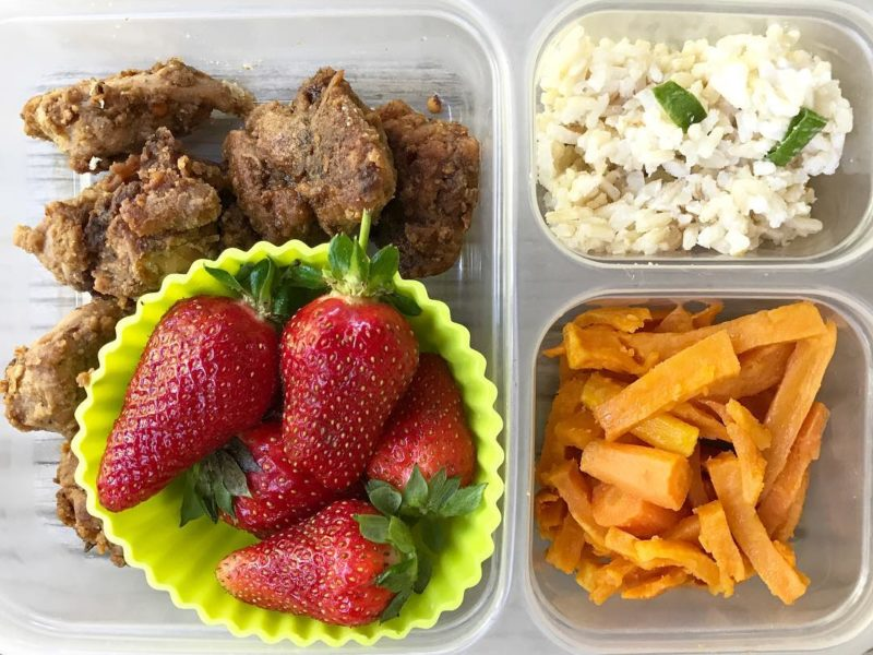 Easy Chinese chicken, Coconut rice, Maple roasted sweet potatoes and carrots, Strawberries - School Lunch Roundup 12 on 100 Days of Real Food