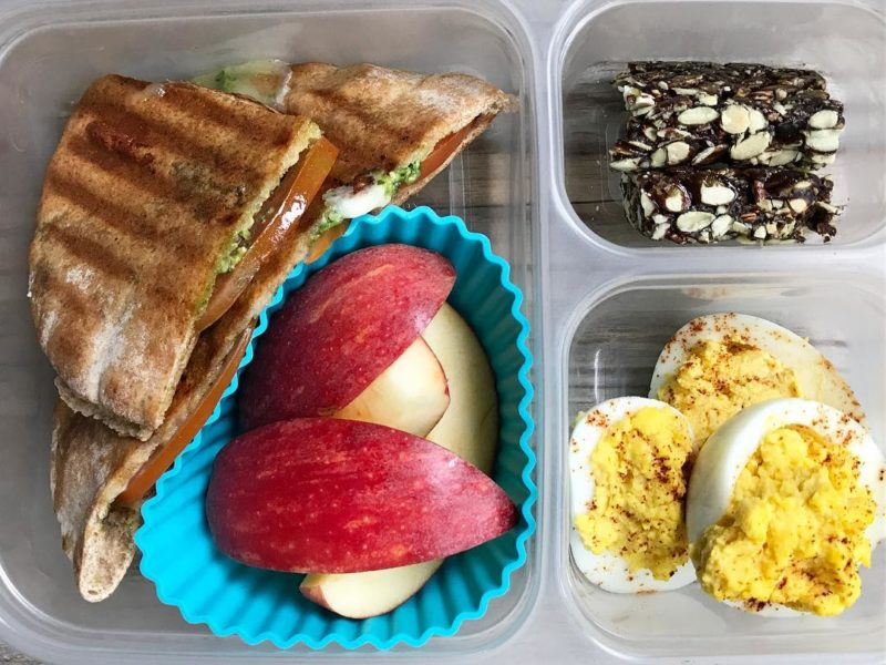 Grilled Caprese panini, Apples, Deviled eggs, Health Warrior bar - School Lunch Roundup 12 on 100 Days of Real Food