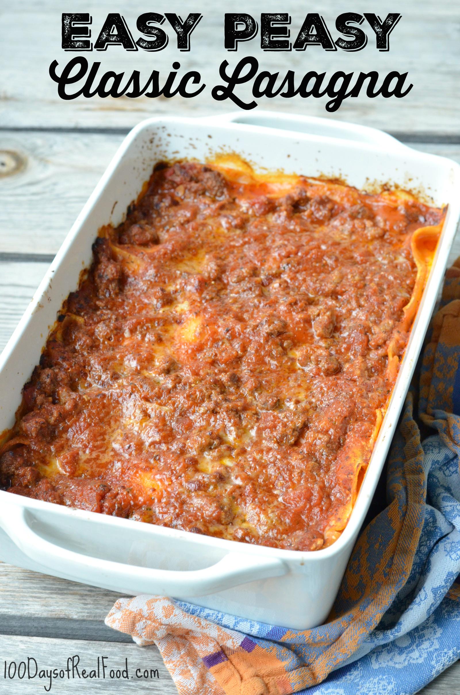Classic Lasagna in white rectangular bakign dish