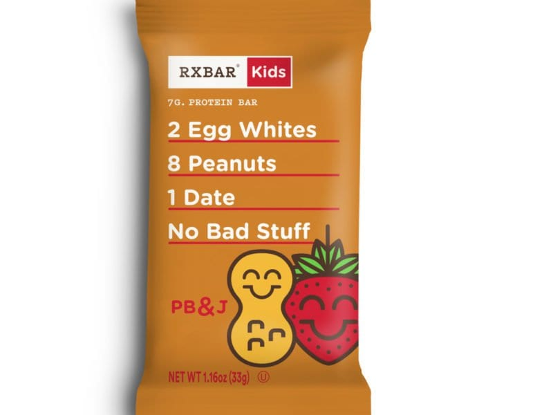 photo of PB&J RXBAR for kids; avoid common food mistakes parents make by showing kids they can eat like you